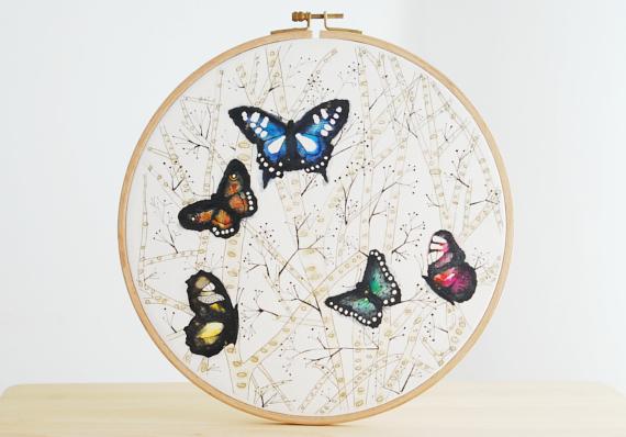 Embroidery Hoop Original Watercolor Painting Ines Rocio