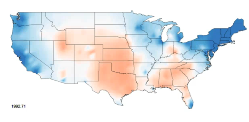 Power Of Data Visualization - Isarithmic map us voting